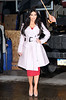 Non-Exclusive<br /> 2012 Jan 23 - Kim Kardashian wears a body-hugging lacy red dress to co-host 'Live with Kelly' in NYC. Photo Credit Jackson Lee