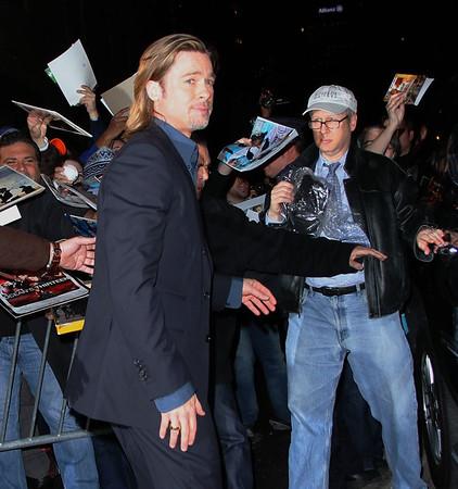 Non-Exclusive<br /> 2012 Feb 1 - Brad Pitt at Jon Stewart Show in NYC. Photo Credit Jackson Lee