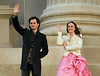 Non-Exclusive<br /> 2012 Feb 6 - Penn Badgley and Leighton Meester wave to fans on the set of 'Gossip Girl' at the Metropolitan Museum of Art in NYC. Photo Credit Jackson Lee