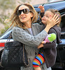 Non-Exclusive<br /> 2012 Apr 10 - Sarah Jessica Parker takes twins Marion and Tabitha (who's carrying a realistic toy dog) to school in NYC. Photo Credit Jackson Lee
