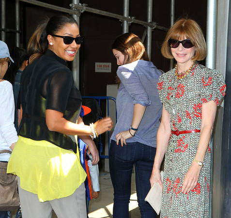 Non-Exclusive<br /> 2012 Apr 15 - Anna Wintour and Lala Vasquez attend the Knicks game in NYC. Photo Credit Jackson Lee