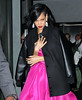 Non-Exclusive<br /> 2012 Apr 24 - Rihanna heads out of her hotel in a fuscia dress in NYC to the Time 100 gala. Photo Credit Jackson Lee