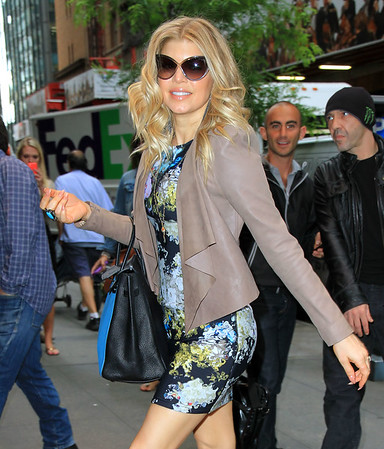 Non-Exclusive<br /> 2012 June 5 - Fergie out and about in NYC in a floral dress. Photo Credit Jackson Lee