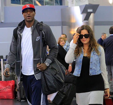Non-Exclusive<br /> 2012 June 19 - Khloe Kardashian and Lamar Odom arrive in NYC. Photo Credit Jackson Lee