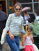Non-Exclusive<br /> 2012 July 29 - Katie Holmes and Suri Cruise cross puddles after lunching at Pastis in NYC. Photo Credit Jackson Lee