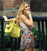 Non-Exclusive<br /> 2012 Aug 2 - Blake Lively on location for Gossip Girl with a co-star in NYC. Photo Credit Jackson Lee