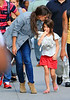 Exclusive<br /> 2012 Aug 16 - Suri Cruise starts to cry when she gets scared by a pigeon when walking the streets with mom Katie Holmes in NYC.  Katie gives Suri a kiss to calm her down. Photo Credit Jackson Lee