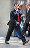 Non-Exclusive<br /> 2012 Sept 25 - Leonardo DiCaprio gets into a limo on the set of 'Wolf of Wall St.' in NYC. Photo Credit Jackson Lee