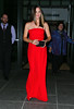 Non-Exclusive<br /> 2012 Sept 27 - Jennifer Garner looks stunning in red when heading out of her hotel in NYC. Photo Credit Jackson Lee