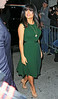 Non-Exclusive<br /> 2012 Oct 10 - Salma Hayek departs the Wendy Williams Show in a green dress in NYC. Photo Credit Jackson Lee