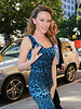 Non-Exclusive<br /> 2012 Oct 10 - Kylie Minogue arrives at her hotel in a turquoise leopard print dress in NYC. Photo Credit Jackson Lee