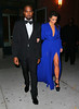 Non-Exclusive<br /> 2012 Oct 22 - Kanye West and Kim Kardashian in a gorgeous low-cut blue dress head to the Angel Ball in NYC. Photo Credit Jackson Lee