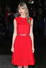 Non-Exclusive<br /> 2012 Oct 23 - Taylor Swift wears a beautiful red dress when coming out of 'David Letterman Show' in NYC. Photo Credit Jackson Lee