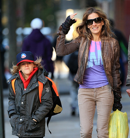 Non-Exclusive<br /> 2012 Nov 6 - Sarah Jessica Parker wears a Viva Obama shirt and James Wilkie Broderick wears an Obama hat on the way to vote in NYC. Photo Credit Jackson Lee