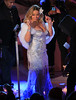 Non-Exclusive<br /> 2012 Nov 27 - Mariah Carey wears a gown with aa low cut top when taping her performance for the Rockefeller Tree lighting in NYC. Photo Credit Jackson Le