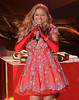 Non-Exclusive<br /> 2012 Nov 27 - Mariah Carey wears a festive short dress with a low cut top when taping her performance for the Rockefeller Tree lighting in NYC. Photo Credit Jackson Lee