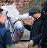 Non-Exclusive<br /> 2012 Dec 5 - Colin Farrell rides and talks to his white horse on the set of 'Winter's Tale' in NYC. Photo Credit Jackson Lee