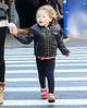 Non-Exclusive<br /> 2013 Jan 6 - Sarah Jessica Parker wears matching outfits with twins Marion and Tabitha on the way to school in NYC. Photo Credit Jackson Lee