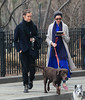 """Non-Exclusive<br /> 2013 Jan 9 - Anne Hathaway and Adam Schulman take Esmeralda for a stroll in the park while holding a book titled, """"Dinner With Lenny"""" in Brooklyn, NY. Photo Credit Jackson Lee"""