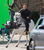 Non-Exclusive<br /> 2013 Feb 17 - Colin Farrell gallops a white horse on the set of 'Winter's Tale' in NYC. Photo Credit Jackson Lee