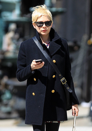 2011 Mar 29 - Michelle Williams walks with a neighbor with a doberman and shops at Malia Mills and Steven Alan in Brooklyn, NY. Photo Credit Jackson Lee