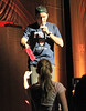 Non-Exclusive<br /> 2011-April-11 -Charlie Sheen rebounds in the Big Apple for his show, 'My Violent Torpedo of Truth' at Radio City Music Hall. Besides looking and sounding a lot more confident than his Friday performance, he also hands a bottle of pink water to a fan. Photo Credit: Jackson Lee