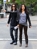 Non-Exclusive<br /> 2011 May 1 - Michelle Rodriguez flags a cab with a gal pal in downtown NYC. Photo Credit Jackson Lee