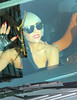 Non-Exclusive<br /> 2011 May 23 - Lady Gaga hangs half her body outside her SUV in order to greet screaming fans as she exits ABC studios after taping the View in NYC. It appears that she broke her ring finger nail while signing for fans as well. Photo credit Jackson Lee