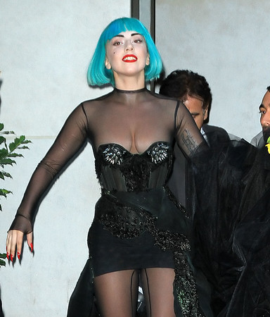 NON-EXCLUSIVE<br /> 2011 June 6 - Lady Gaga steps out of her hotel and greet fans while on extremely high shoes in NYC. Photo Credit Jackson Lee