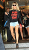 Non-Exclusive<br /> 2011 June 9 - Fergie comes out of her hotel wearing a bloody 'No Sale is Ever Final' shirt in NYC on her way to a charity concert in Central Park. The concert was eventually cancelled due to inclement weather, angering patrons who waited hours in the blistering 100 degree heat.  Photo Credit Jackson Lee