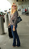 Non-Exclusive<br /> 2011 June 11 - Julianne Hough arrives at LaGuardia Airport carrying a green apple in hand. Photo Credit Jackson Lee