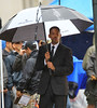Non-Exclusive<br /> 2011 June 11 - Will Smith films a scene for 'Men in Black 3' in the rain in NYC. Photo Credit Jackson Lee