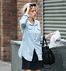 Exclusive<br /> 2011 May 17 - Heidi Bivens, ex-girlfriend of 14 years of Jennifer Aniston's new boyfriend Justin Theroux, gets off her Vespa in NYC. Photo Credit Jackson Lee