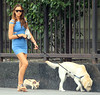 NON EXCLUSIVE<br /> 2011 August 4 -Irina Shayk struggles with her labrador dog while out and about in NYC.  Photo Credit Jackson Lee