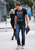 NON EXCLUSIVE<br /> 2011 August 7 - Alexander Skarsgard out for a walk in NYC with a binder and iphone headphone.  Photo Credit Jackson Lee
