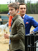 NON EXCLUSIVE<br /> 2011 August 16 - Ed Westwick shoots a scene with a dog with Chace Crawford and Penn Badgley in NYC.Photo Credit Jackson Lee