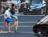 Non-Exclusive <br /> 2011 Aug 17 - Suri Cruise throws a tantrum when boarding the helicopter with Katie Holmes in NYC.  Photo Credit Jackson Lee