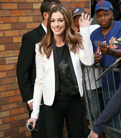 NON EXCLUSIVE<br /> 2011 August 18  - Anne Hathaway departs Jon Stewart Show in NYC. Photo Credit Jackson Lee