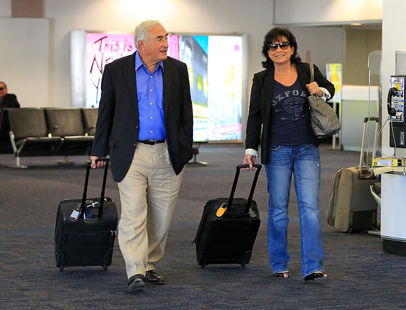 Non-Exclusive  2011 Sept 1 - Dominique Strauss Kahn and wife Anne Sinclair arrives at LaGuardia Airport in NYC.  Photo Credit Jackson Lee