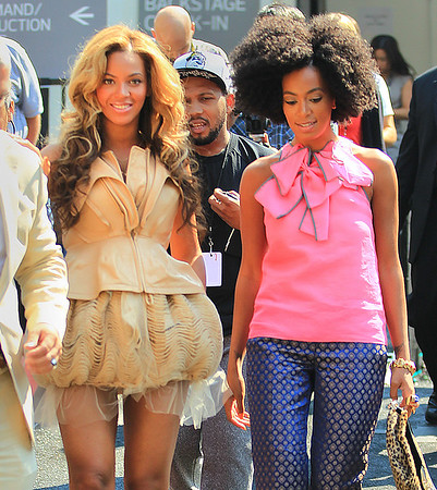 Non-Exclusive <br /> 2011 Sept 13 - Beyonce Knowles and Solange Knowles out and about at NY fashion week in NYC.  Photo Credit Jackson Lee