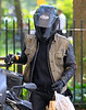 Non-Exclusive <br /> 2011 Sept 14 - Justin Theroux gets on a motorbicycle in NYC.  Photo Credit Jackson Lee