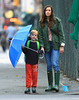 NON EXCLUSIVE<br /> 2011 Sept 23 - Liv Tyler and Milo Landon walk in the rain in NYC.  Photo Credit Jackson Lee