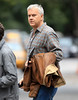 NON EXCLUSIVE<br /> 2011 Oct 3 - Tim Robbins carries his iPad and a green drink when walking around the set of his movie 'Thanks for Sharing' in NYC   Photo Credit Jackson Lee