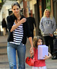 Non-Exclusive<br /> 2011 Oct 6 - Katie Holmes and Suri Cruise walk along the Roberto Clemente Bridge while Tom Cruise films 'One Shot' in Pittsburgh, PA. Photo Credit Jackson Lee