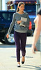Non-Exclusive<br /> 2011 Oct 7 - Katie Holmes carries her iPad when visiting the set of 'One Shot' starring Tom Cruise in Pittsburgh, PA. Photo Credit Jackson Lee