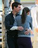 Non-Exclusive<br /> 2011 Oct 7 - Tom Cruise and Katie Holmes hug it out on the set of 'One Shot' in Pittsburgh, PA. Photo Credit Jackson Lee