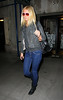 Non-Exclusive<br /> 2011 Oct 12 - Gwyneth Paltrow out and about in NYC wearing a leather jacket, pink-rimmed sunglasses, and blue jeans. Photo Credit Jackson Lee