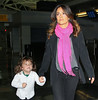 Non-Exclusive<br /> 2011 Oct 23 - Salma Hayek and Valentina Pinault arrive at JFK Airport in NYC. Photo Credit Jackson Lee