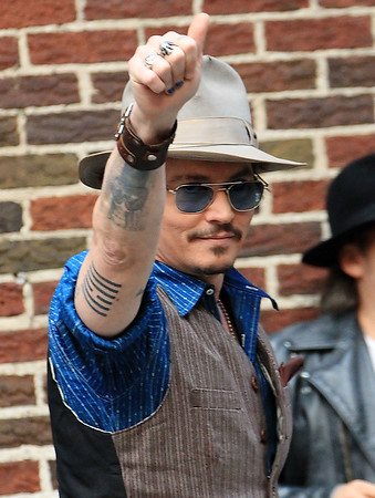 Non-Exclusive<br /> 2011 Oct 26 - Johnny Depp at the 'David Letterman Show' in NYC. Photo Credit Jackson Lee