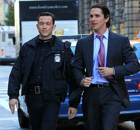Non-Exclusive<br /> 2011 Oct 28 - Christian Bale and Joseph Gordon Levitt on location for 'Dark Knight' in NYC. Photo Credit Jackson Lee